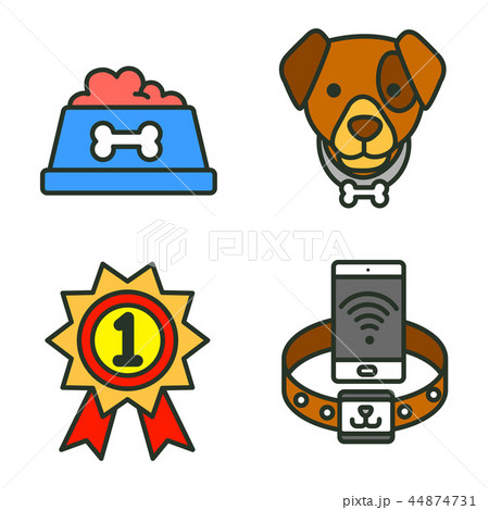Flat veterinary icons set. use for web and mobile UI, set of basic veterinary elements isolated vector illustration 037 44874731