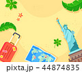 Summer holiday background with beach and forest landscape vector illustration 021 44874835