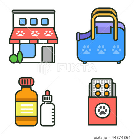 Flat veterinary icons set. use for web and mobile UI, set of basic veterinary elements isolated vector illustration 060 44874864
