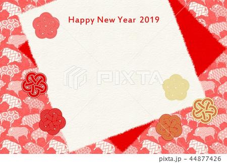 年賀2019亥紅白梅和紙 44877426