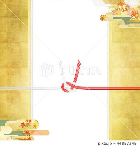 和-和風-和柄-背景-和紙-秋-紅葉-金-水引-のし紙 44887348