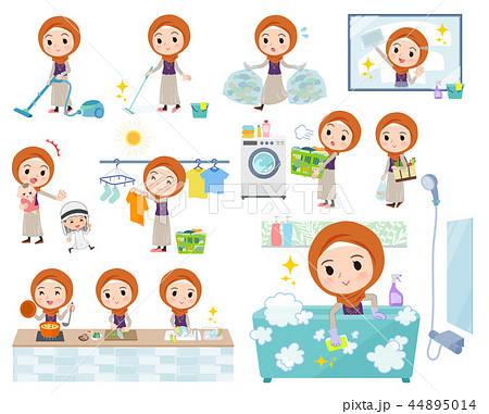 Arab women orange Hijab_housekeeping 44895014