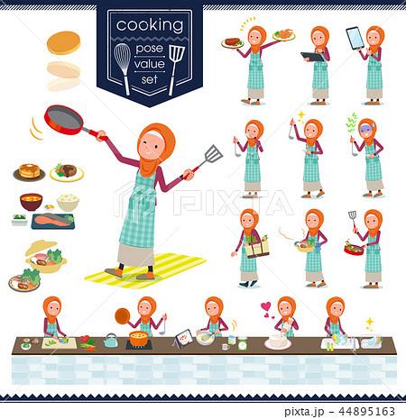flat type Arab women orange Hijab_cooking 44895163