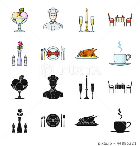 Vase with a flower, table setting, fried chicken with garnish, a cup of coffee.Restaurant set 44895221