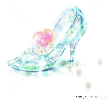 ガラスの靴 ハートの宝石 真珠のイラスト素材 [44918806] , PIXTA