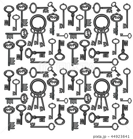 Texture of vintage keys isolated on white background. Vector cartoon close-up illustration. 44923641