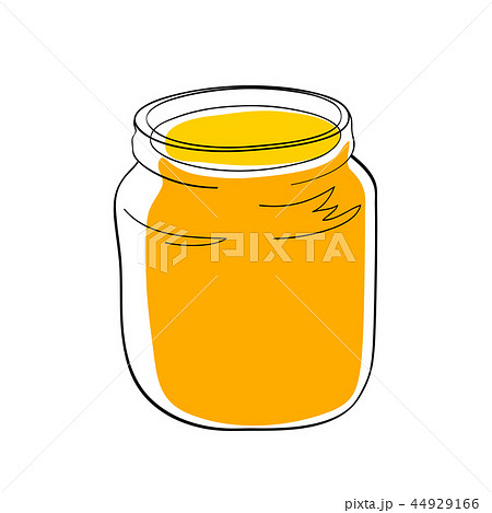 Yellow jam or honey in the glass jar 44929166
