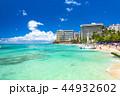 ワイキキビーチ 砂浜 海の写真 44932602