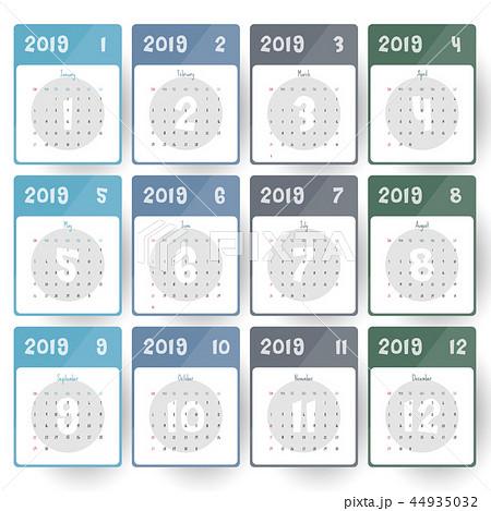 2019 Modern calendar template .Vector/illustration 44935032