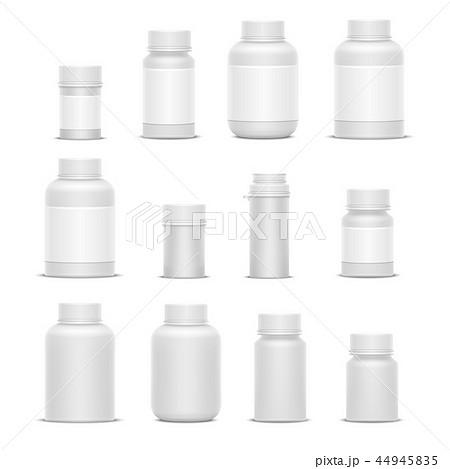 Realistic vector plastic packaging medicine bottles for cosmetics vitamins pills or capsules 44945835