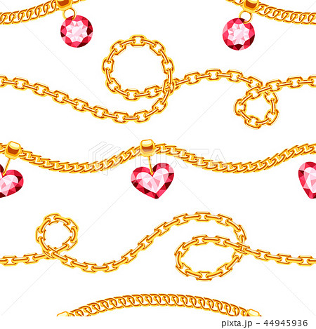 Golden chains with gemstones jewels vector seamless pattern 44945936