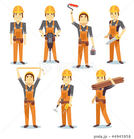 Construction engineering industrial workers working with building tools and equipment vector people 44945958