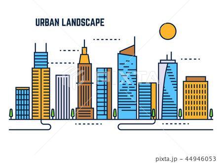 Urban cityscape flat line vector design 44946053