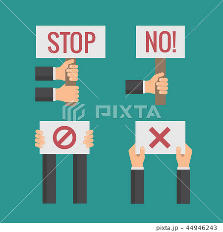 Hands holding No, Stop, Cross, Forbid protest signs. Vector flat set 44946243