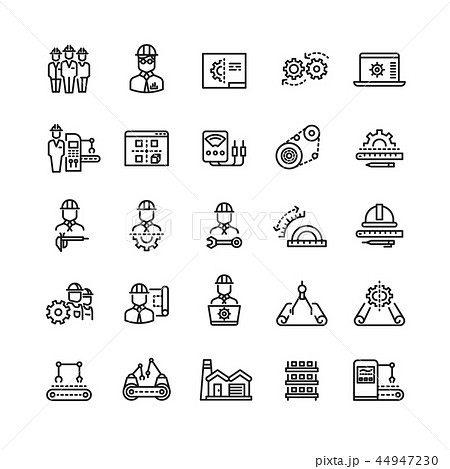 Vector industry engineering mechanical thin line icons 44947230