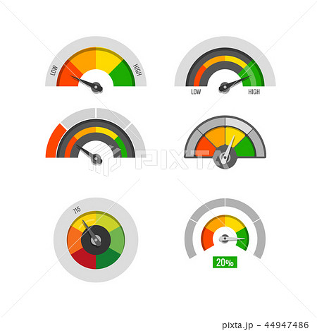 Speedometer indicators gauges low, moderate and high measurement levels vector stock 44947486