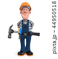 Builder worker in overalls with hammer 44950518
