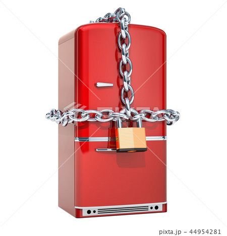 Fridge with chain and padlock, diet concept 44954281