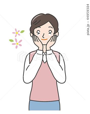 女性上半身 感情表現 社会人 ポジティブ 幸せ うれしい 美味しい 感激 ハッピー 44959384