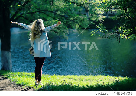 spring, female seasonal portrait / walk happy girl outdoors, spring mood girl 44964709