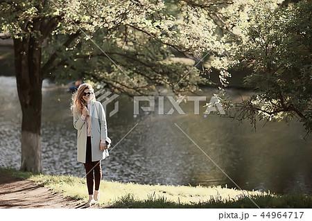 vintage adult girl summer tint / happy adult woman having fun and enjoys summer summertime girl 44964717