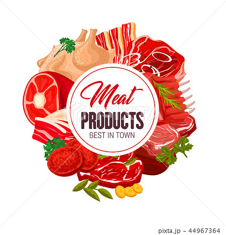 Butcher shop meat butchery products vector poster 44967364