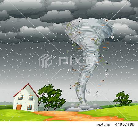 Destructive tornado landscape scene 44967399