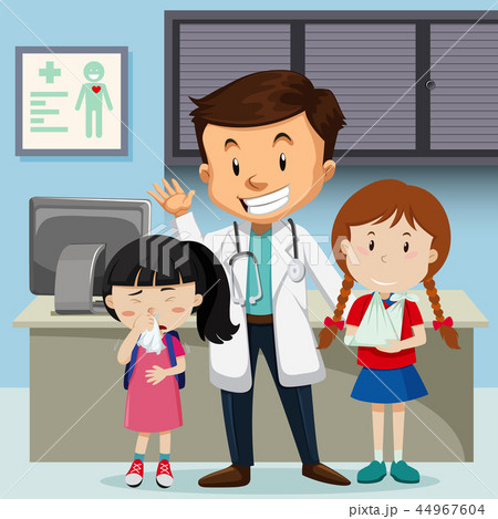 Doctor and children at hospital 44967604