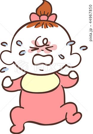 赤い服を着たかわいい赤ちゃん 女の子 泣き顔のイラスト素材 44967850