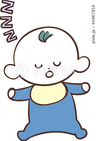 青い服を着たかわいい赤ちゃん 男の子 眠る 睡眠のイラスト素材