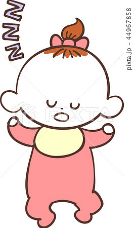 赤い服を着たかわいい赤ちゃん 女の子 眠る 睡眠のイラスト素材