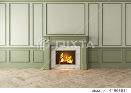 Modern classic green interior with fireplace, wall panels, wooden floor. 44968654