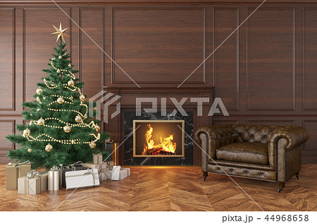 Classic interior with christmas tree, fireplace, lounge armchair 44968658