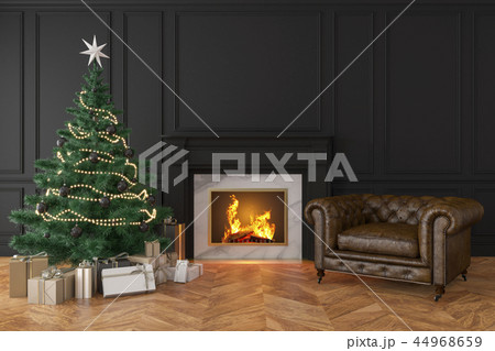 Classic black interior with christmas tree, fireplace, lounge armchair 44968659