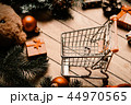shopping cart and christmas decorations 44970565