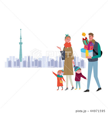 冬 家族 ショッピング イラスト 44971595