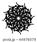 Black silhouette of woman in yoga position in kaleidoscope ornament. 44976079