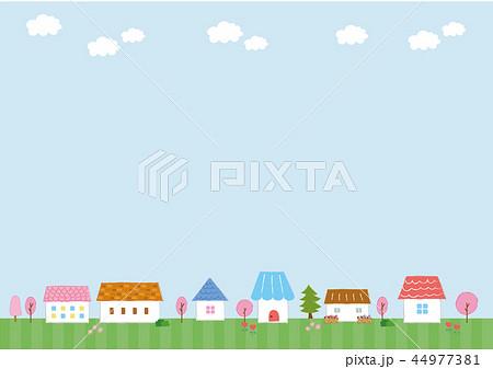 かわいい家の背景素材(春) 44977381