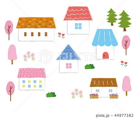 かわいい家のアイコン素材(春) 44977382