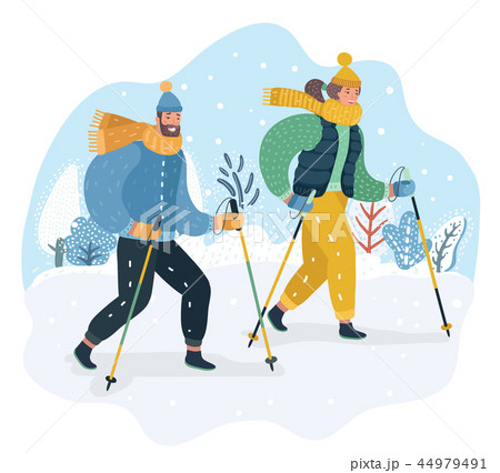 Happy couple practicing Nordic walking in the snow 44979491
