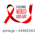 World Aids Day. Vector illustration with red ribbon 44985263