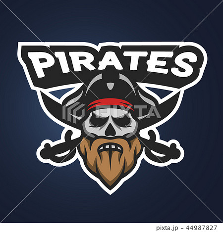Pirate captain skull. Sport emblem. 44987827