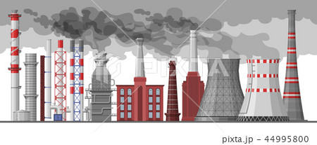 Industry factory vector industrial chimney pollution with smoke in environment illustration set of 44995800