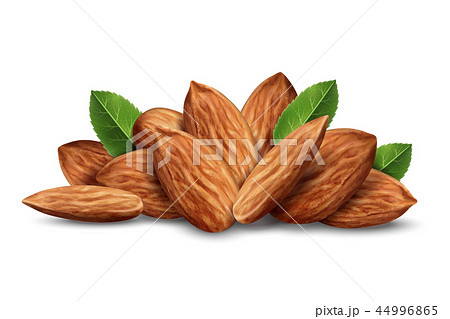 Heap of almond nuts with leaves 44996865