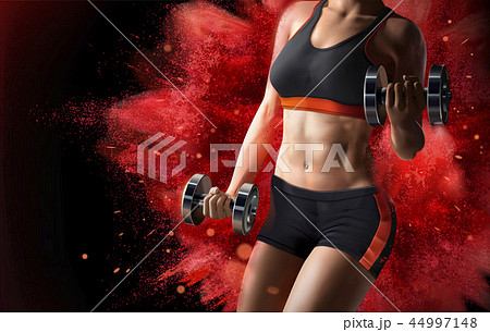 Fitness woman lifting weights 44997148