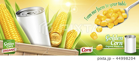 Sweet corn ads with blank tin can 44998204