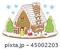 クリスマス サンタクロース お菓子の家のイラスト 45002203