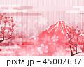 富士山 梅 和紙のイラスト 45002637