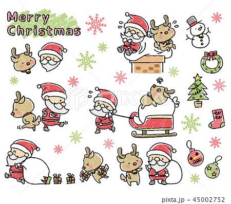 クリスマス 手書き風 セットのイラスト素材 45002752 Pixta