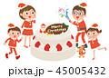 クリスマス 家族 クラッカーのイラスト 45005432